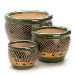 Gifts & Decor Ceramic Jade Garden Planters Flower Plant Pot Set