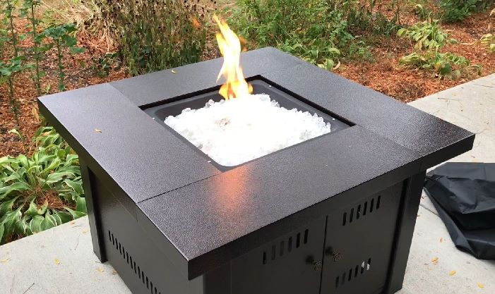 Square Gas Outdoor Fire Pit Table